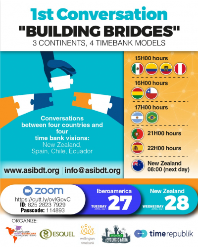 "1st Conversation ""Building Bridges"" 3 continents, 4 timebank models"